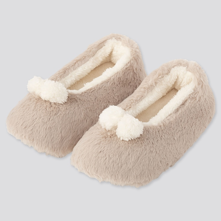 WOMEN FAUX SHEARLING BALLET SLIPPERS, NATURAL, large
