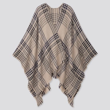 2-WAY CHECKED STOLE, NATURAL, medium