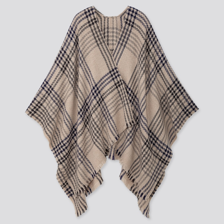 2-way Checked Stole, Natural, Large