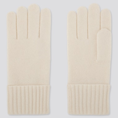 CASHMERE KNITTED GLOVES, OFF WHITE, medium