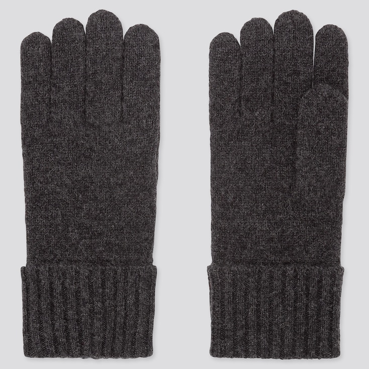 CASHMERE KNITTED GLOVES, DARK GRAY, large