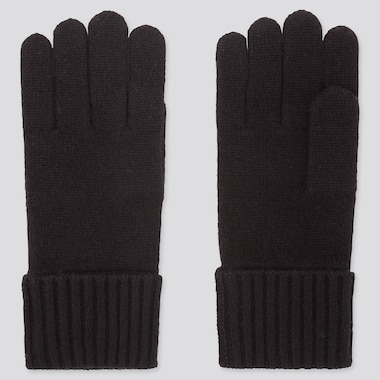 CASHMERE KNITTED GLOVES, BLACK, medium