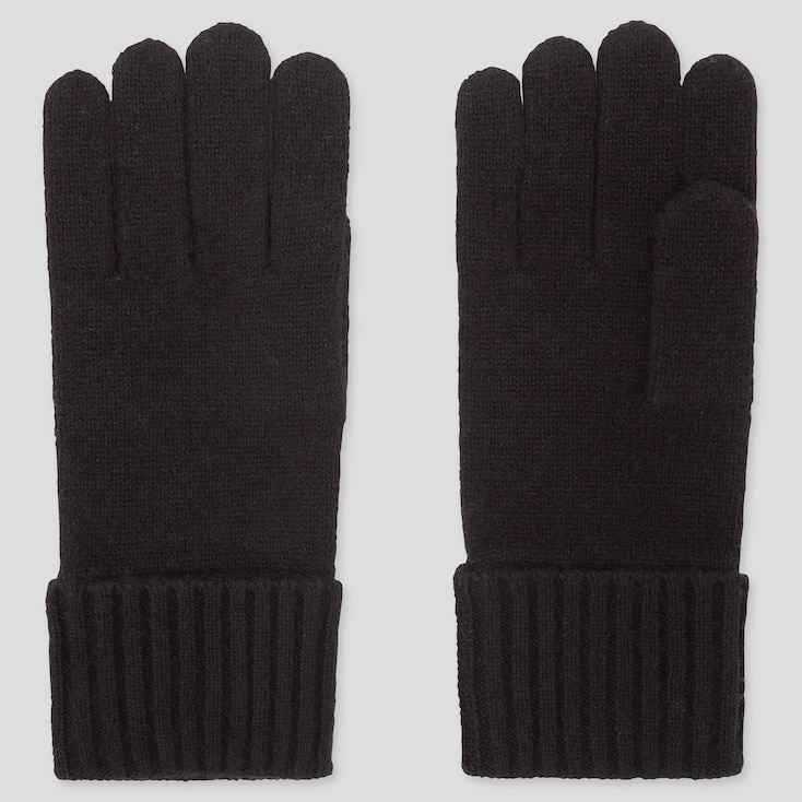CASHMERE KNITTED GLOVES, BLACK, large