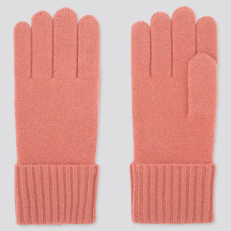 CASHMERE KNITTED GLOVES, PINK, large