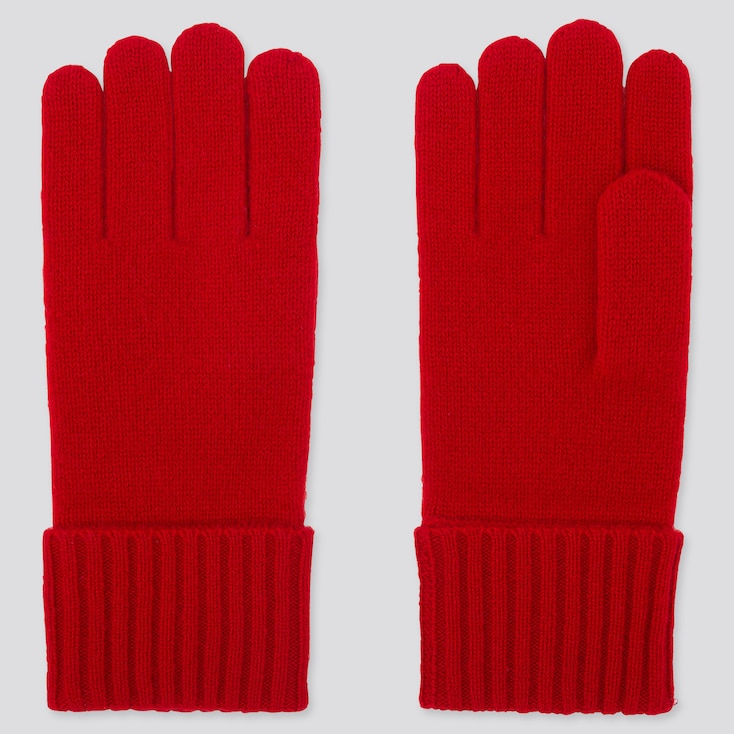 CASHMERE KNITTED GLOVES, RED, large