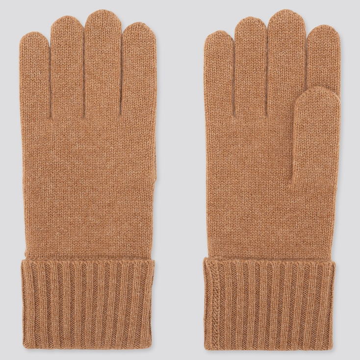 CASHMERE KNITTED GLOVES, KHAKI, large