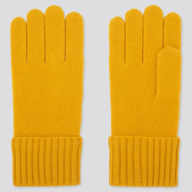 CASHMERE KNITTED GLOVES, YELLOW, medium