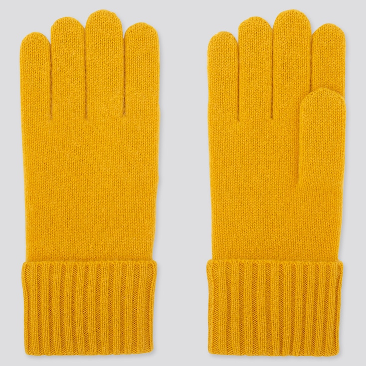 CASHMERE KNITTED GLOVES, YELLOW, large