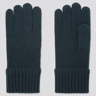 CASHMERE KNITTED GLOVES, DARK GREEN, medium