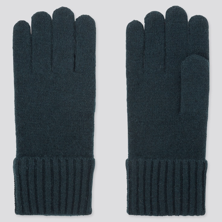 CASHMERE KNITTED GLOVES, DARK GREEN, large