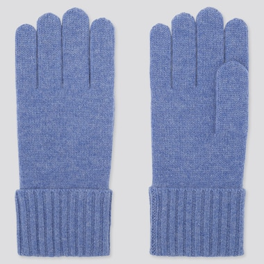 CASHMERE KNITTED GLOVES, BLUE, medium