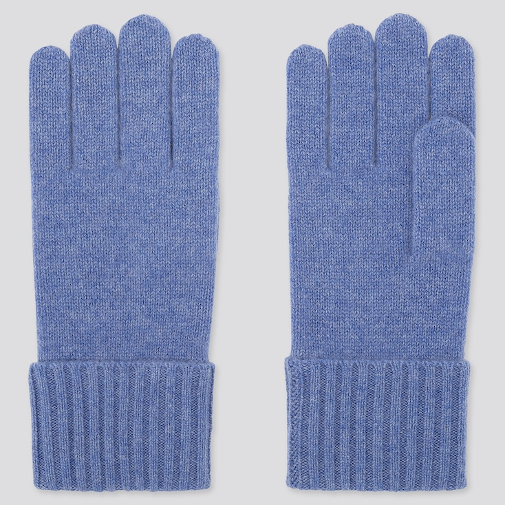 CASHMERE KNITTED GLOVES, BLUE, large