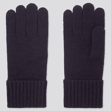 CASHMERE KNITTED GLOVES, NAVY, medium
