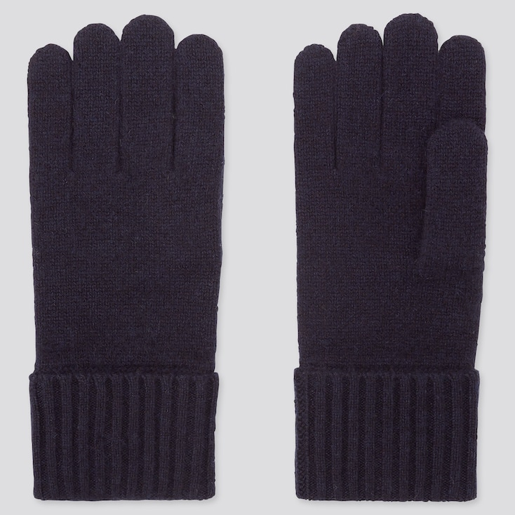 CASHMERE KNITTED GLOVES, NAVY, large