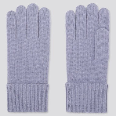 CASHMERE KNITTED GLOVES, PURPLE, medium