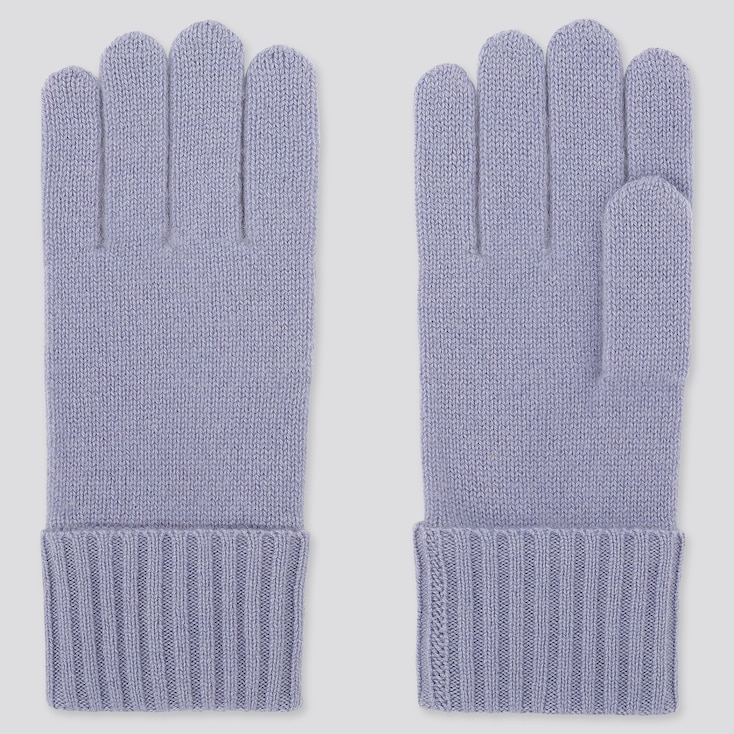 CASHMERE KNITTED GLOVES, PURPLE, large