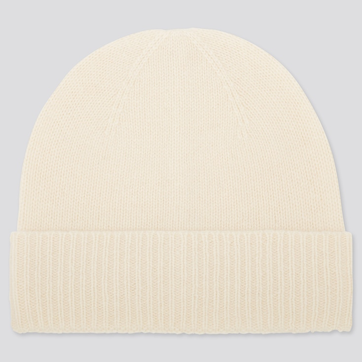 CASHMERE KNITTED BEANIE, OFF WHITE, large