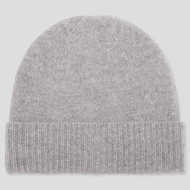 CASHMERE KNITTED BEANIE, LIGHT GRAY, medium