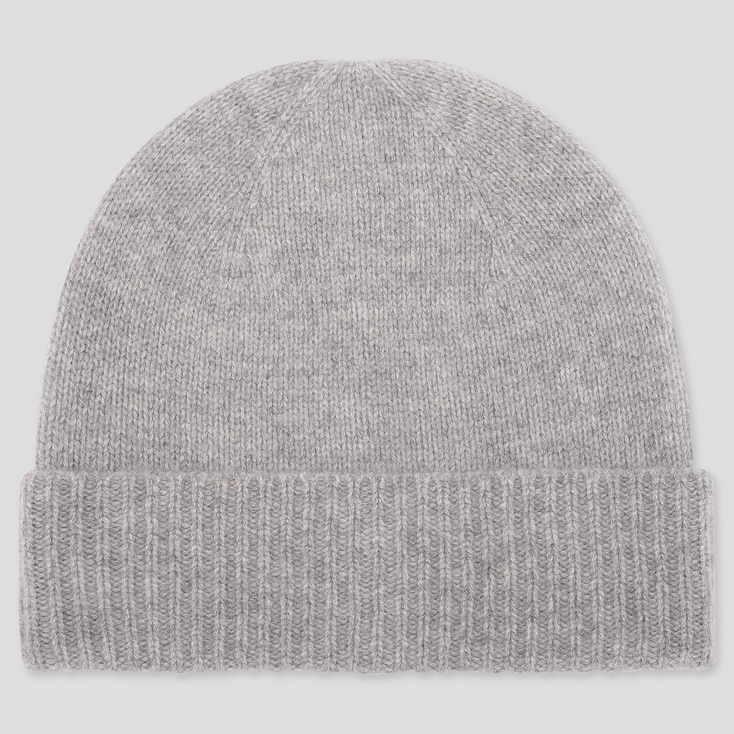 CASHMERE KNITTED BEANIE, LIGHT GRAY, large