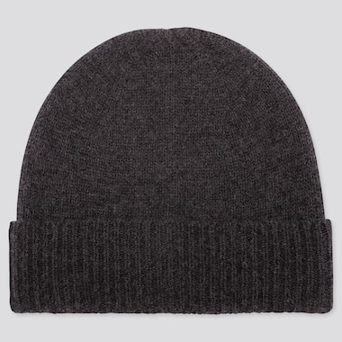 Cashmere Knitted Beanie, Dark Gray, Medium