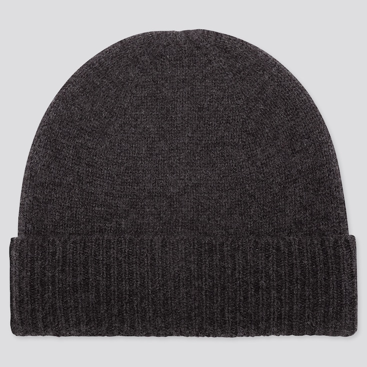 CASHMERE KNITTED BEANIE, DARK GRAY, large