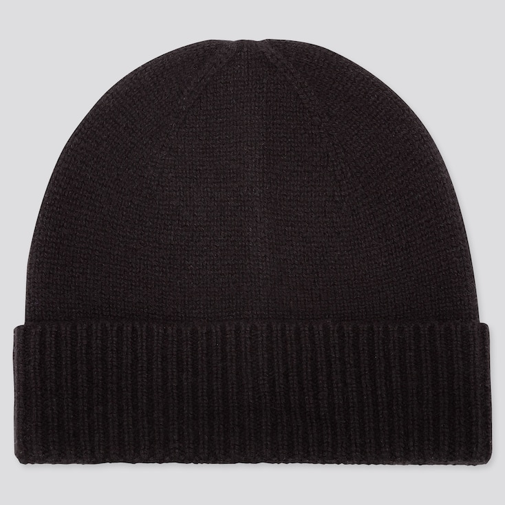 Cashmere Knitted Beanie, Black, Large