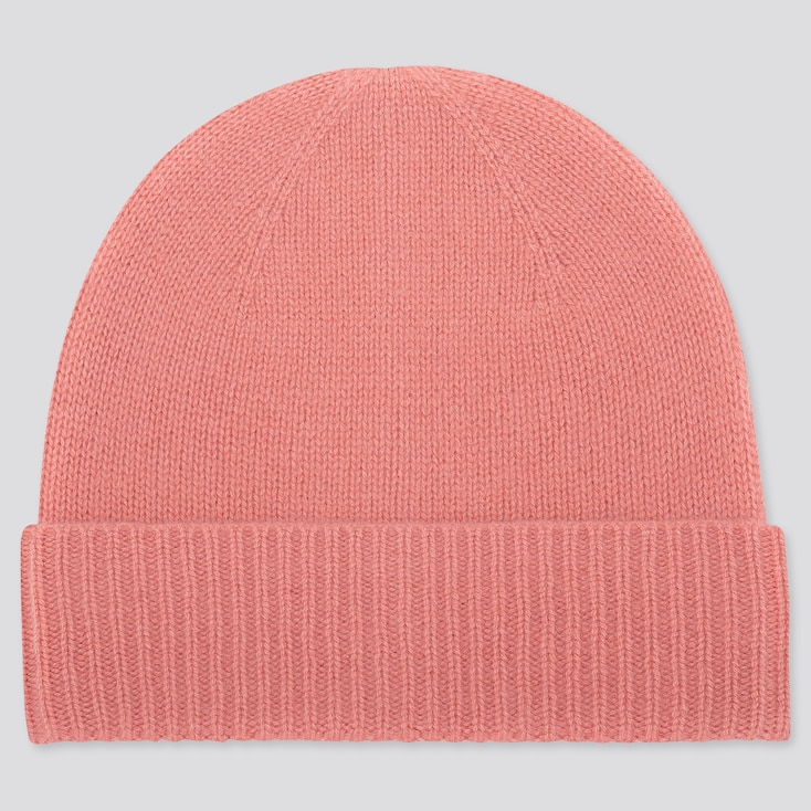 CASHMERE KNITTED BEANIE, PINK, large