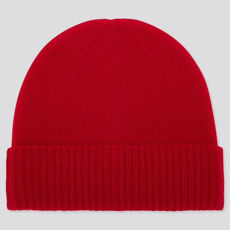 CASHMERE KNITTED BEANIE, RED, large