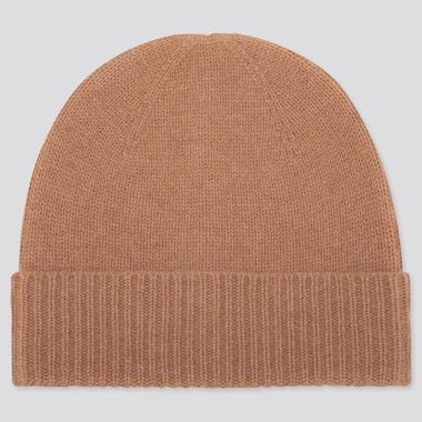 Cashmere Knitted Beanie, Khaki, Medium