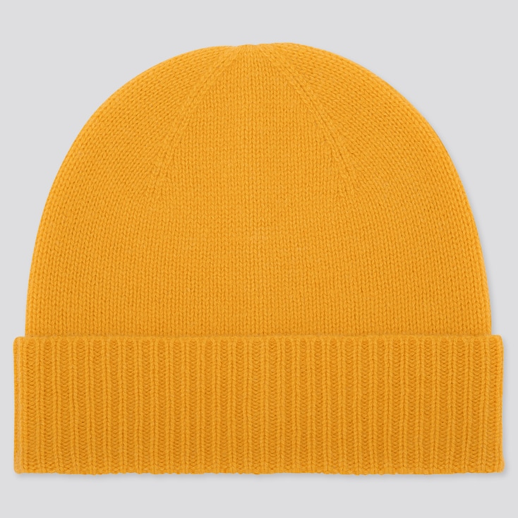 CASHMERE KNITTED BEANIE, YELLOW, large