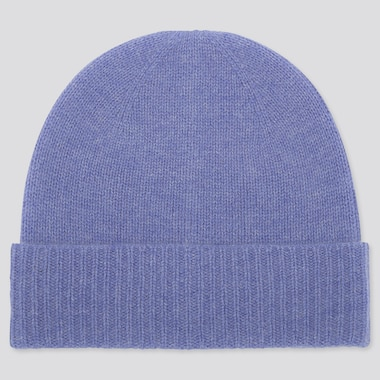 Cashmere Knitted Beanie, Blue, Medium