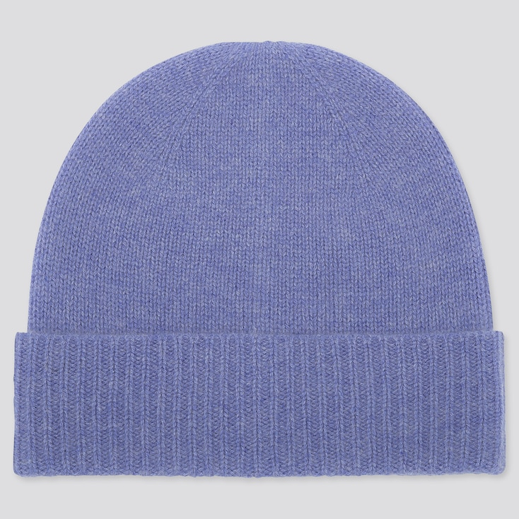 CASHMERE KNITTED BEANIE, BLUE, large