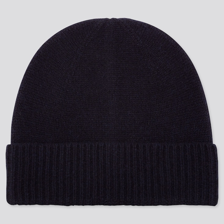 Cashmere Knitted Beanie, Navy, Large