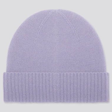 Cashmere Knitted Beanie, Purple, Medium