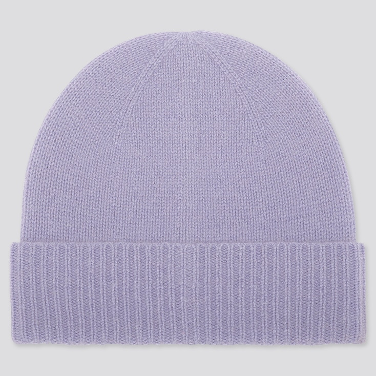 CASHMERE KNITTED BEANIE, PURPLE, large