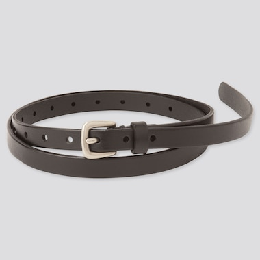 WOMEN VINTAGE SKINNY BELT, BLACK, medium