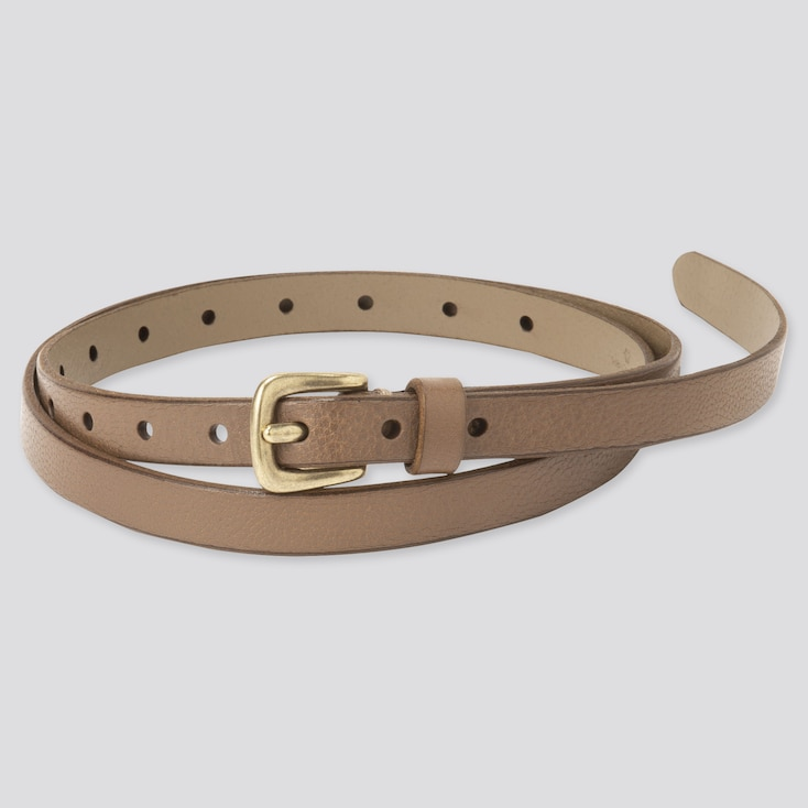 Women Vintage Skinny Belt, Khaki, Large
