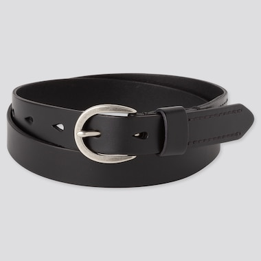 WOMEN STITCHED BELT, BLACK, medium