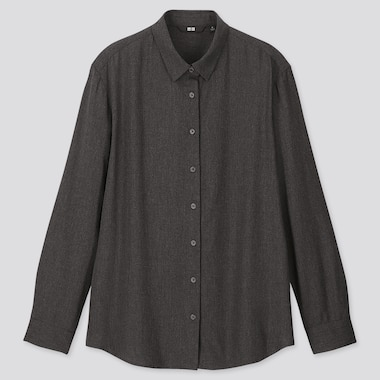 WOMEN RAYON LONG-SLEEVE BLOUSE, DARK GRAY, medium