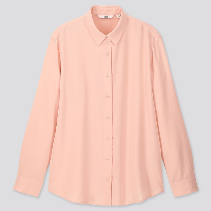 Women Rayon Long-Sleeve Blouse, Pink, Large