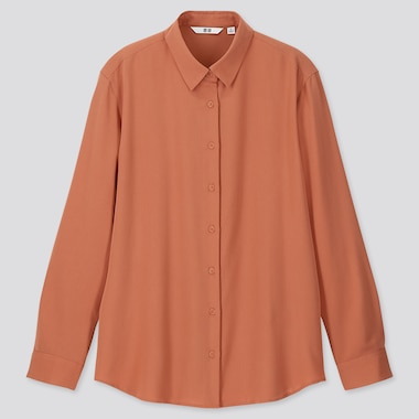 Women Rayon Long-Sleeve Blouse, Orange, Medium