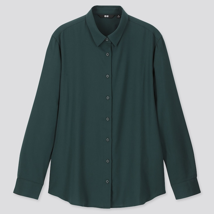 WOMEN RAYON LONG-SLEEVE BLOUSE, DARK GREEN, large