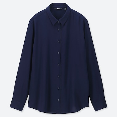 Women Rayon Long-Sleeve Blouse, Navy, Medium
