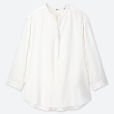 Women Rayon Stand Collar 3/4 Sleeve Blouse, White, Medium