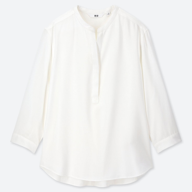 Women Rayon Stand Collar 3/4 Sleeve Blouse, White, Large