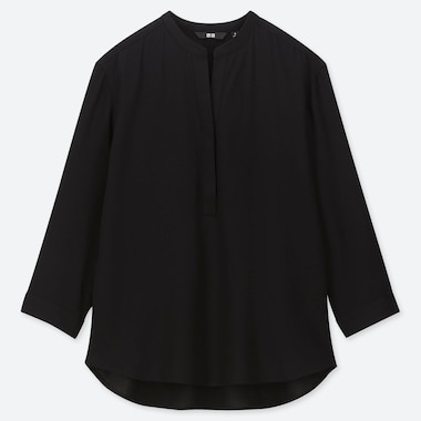 WOMEN RAYON STAND COLLAR 3/4 SLEEVE BLOUSE, BLACK, medium