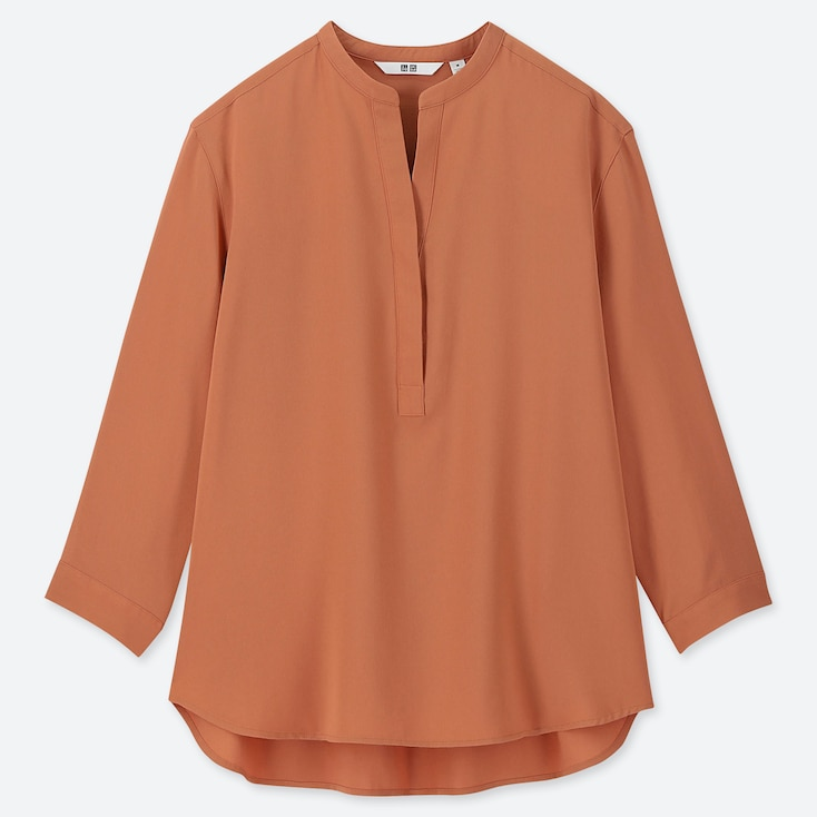 WOMEN RAYON STAND COLLAR 3/4 SLEEVE BLOUSE, ORANGE, large