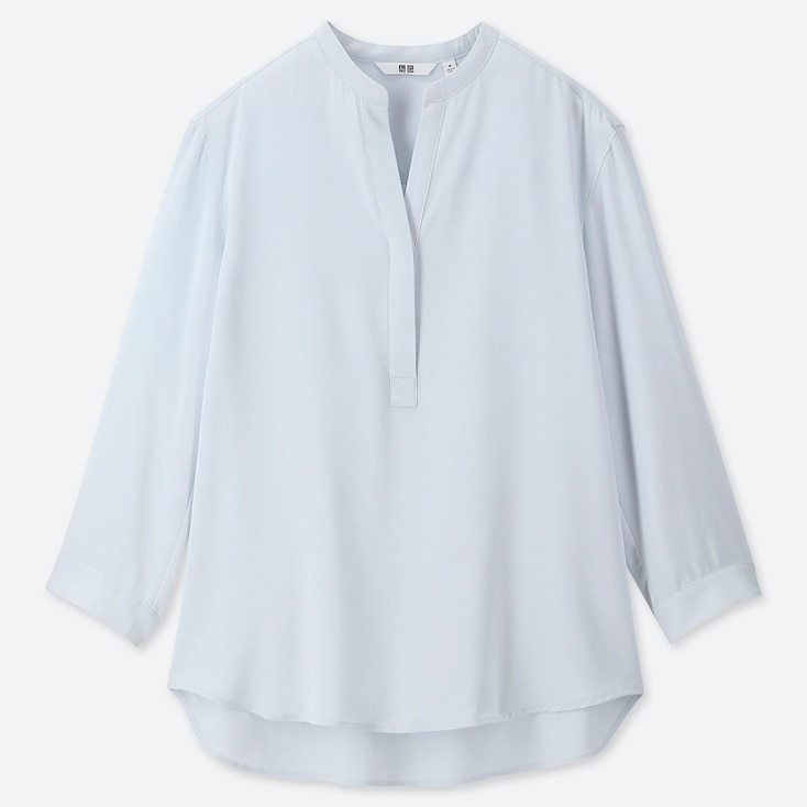 Women Rayon Stand Collar 3/4 Sleeve Blouse, Blue, Large