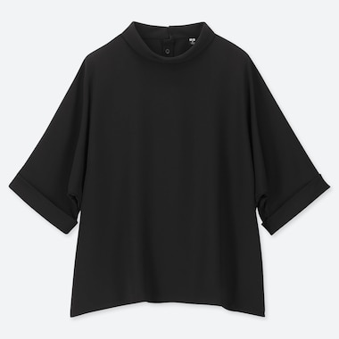 WOMEN DRAPE MOCK NECK HALF-SLEEVE BLOUSE, BLACK, medium