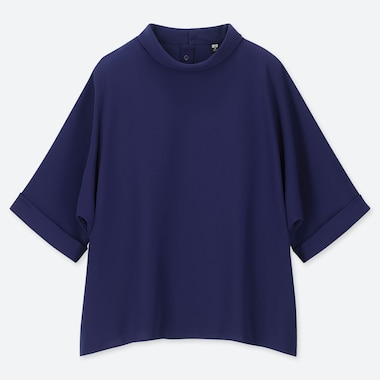 WOMEN DRAPE MOCK NECK HALF-SLEEVE BLOUSE, BLUE, medium